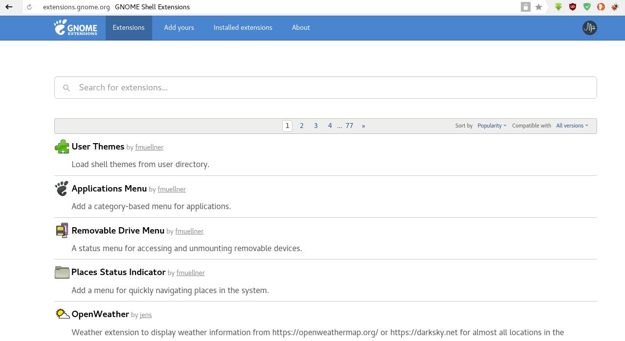 Instalar complemento para administrar extensiones de gnome shell en Fedora