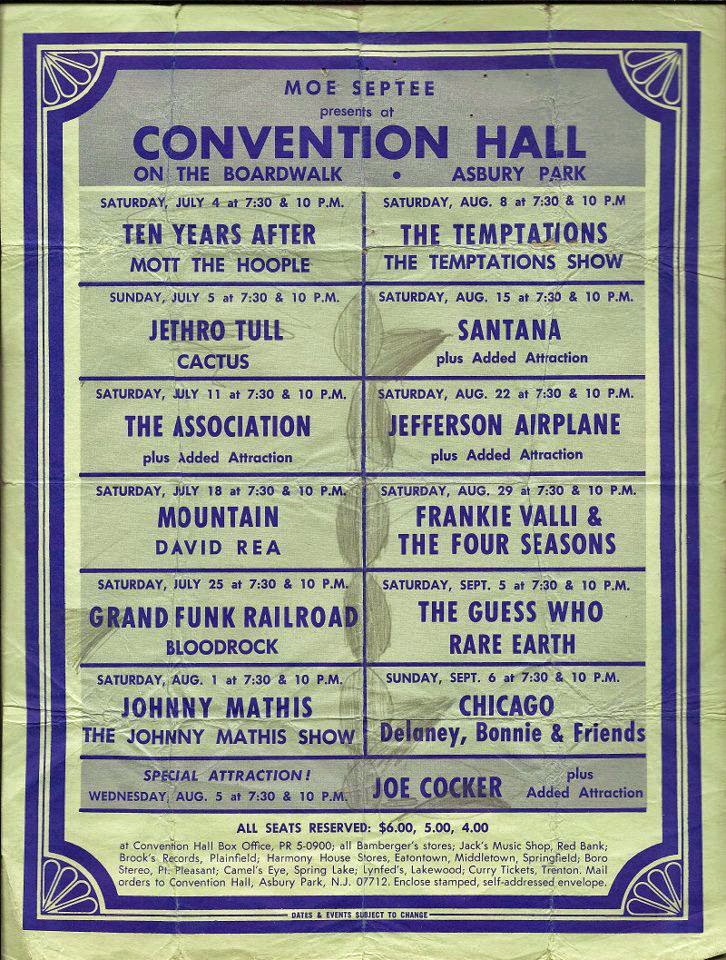 Convention Hall band line up 1971 Jethro Tull Aqualung Tour