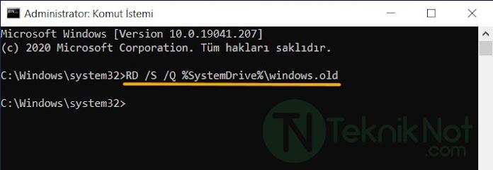 Windows.old klasörünü Komut istemi ile silmek