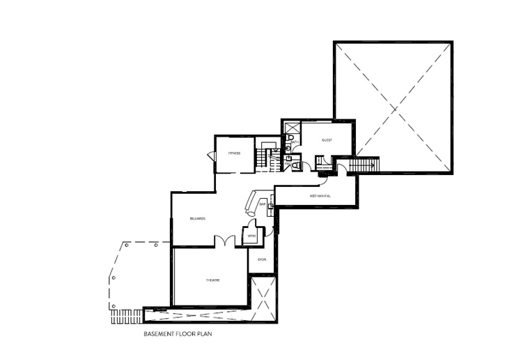Basement floor plan of Amazing Ottawa River House by Christopher Simmonds Architect