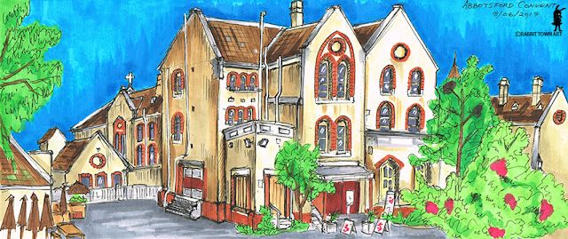 Urban Sketch of the Abbotsford Convent, colored with copics and done by Marta Tesoro aka Rabbit Town Art