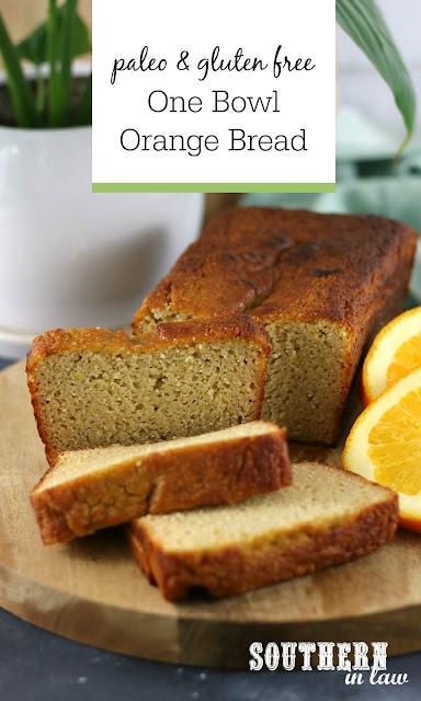 One Bowl Paleo Orange Bread Recipe - healthy, low carb, gluten free, grain free, coconut flour recipes