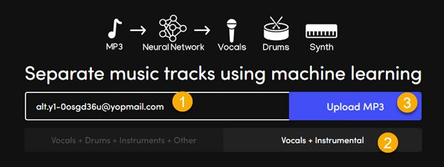 caricare file audio in melody