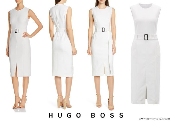 Queen Letizia wore Hugo Boss Dadoria Belted Sheath Dress