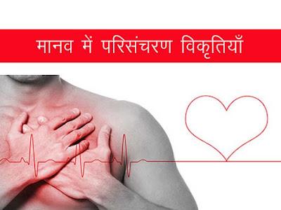 परिसंचरण की विकृतियाँ। मानव में हृदय संबंधित बीमारियाँ । Heart diseases in humans
