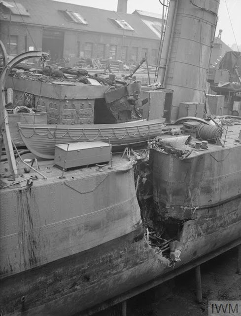 Bomb damage to HMS Wallace 2 May 1942 worldwartwo.filminspector.com