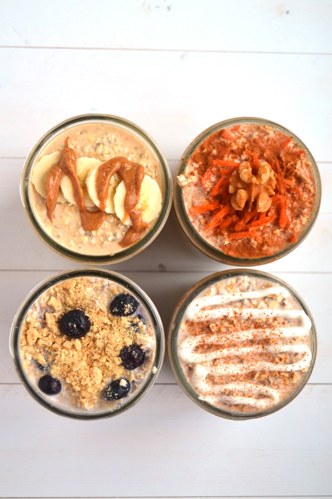Easy Overnight Oats made 4 different ways! All indulgent sounding flavors but they are quite nutritious- Peanut Butter Banana, Blueberry Cheesecake, Cinnamon Roll and Carrot Cake Overnight Oats. www.nutritionistreviews.com