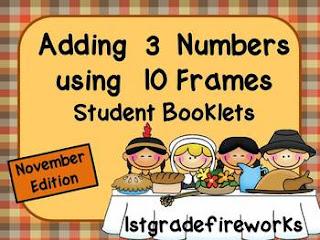 November Adding 3 numbers MATH Booklets from TpT 1stgradefireworks
