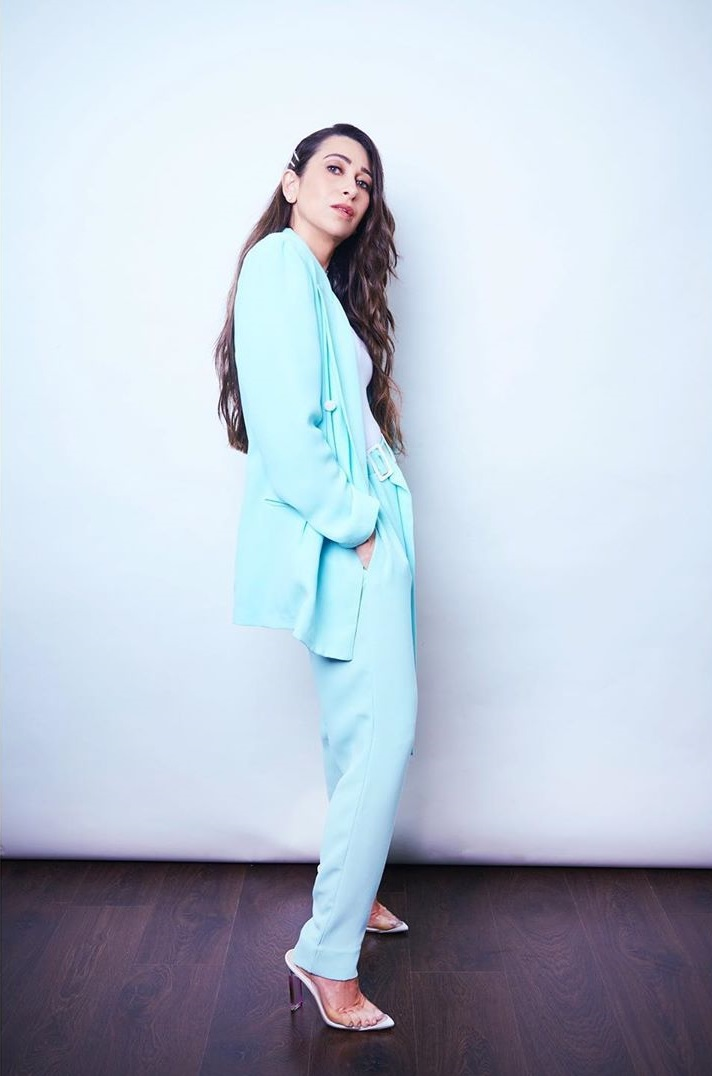 Karisma Kapoor makes a chic statement in a bright coloured pantsuit by Edelinelee