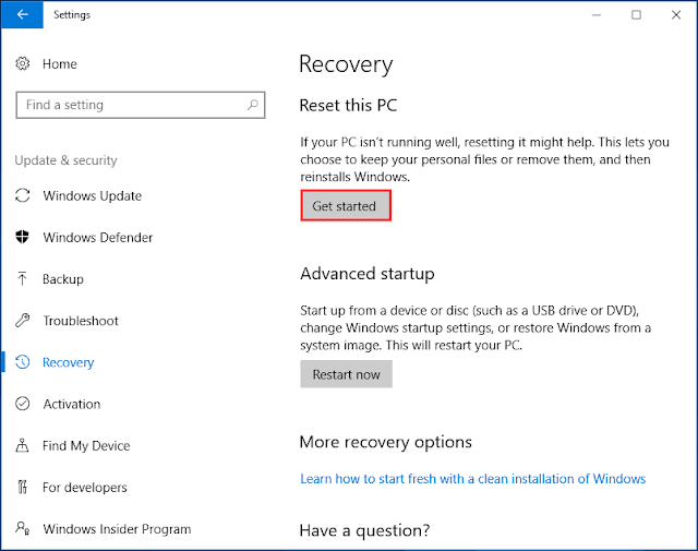 Use Other Windows 10 Recovery Options