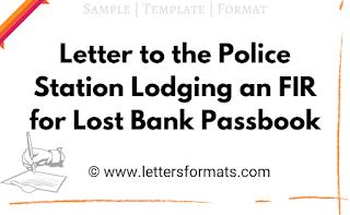 bank passbook missing letter to police station