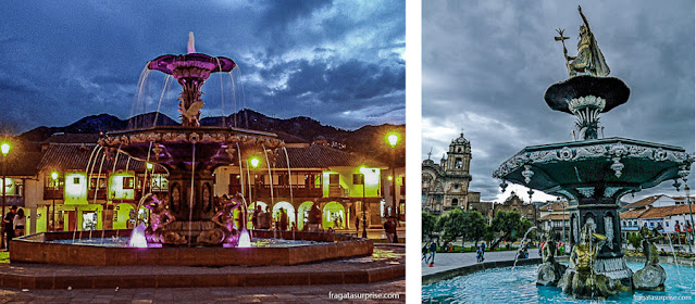 Fonte na Praça de Armas de Cusco, Peru