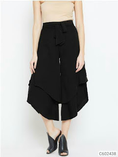 Women's Latest Crepe Solid Culottes