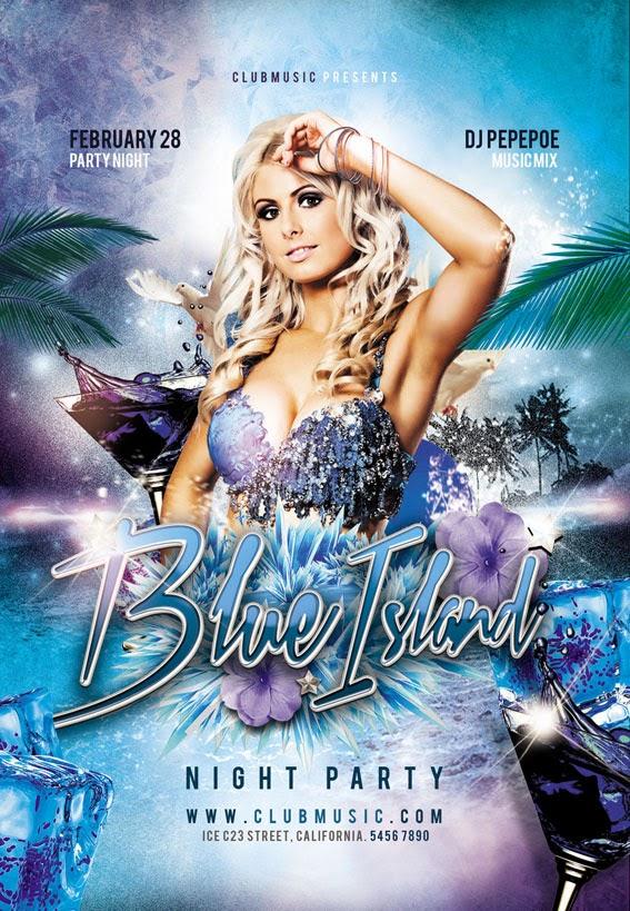 Blue Island, Blue, Ice, Winter Party Theme Flyer Design