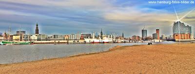 Hamburg Panorama, Hamburg Skyline Hafen mit Michel und Elbphilharmonie