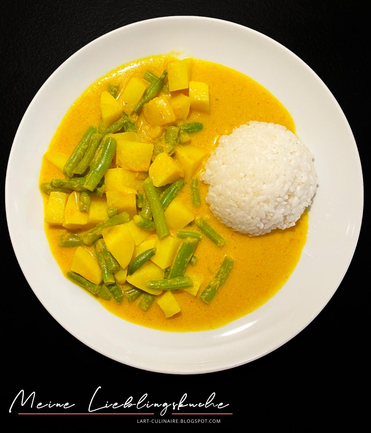 Brechbohnen und Kartoffeln in Curry-Kokosmilch-Soße