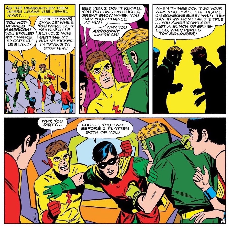 Kid Flash arguing with Starfire, now a.k.a. Red Star, as other Titans look on