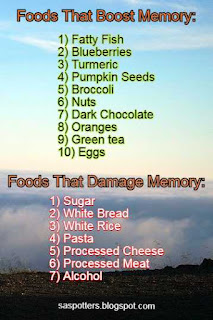 List of foods that affect memory