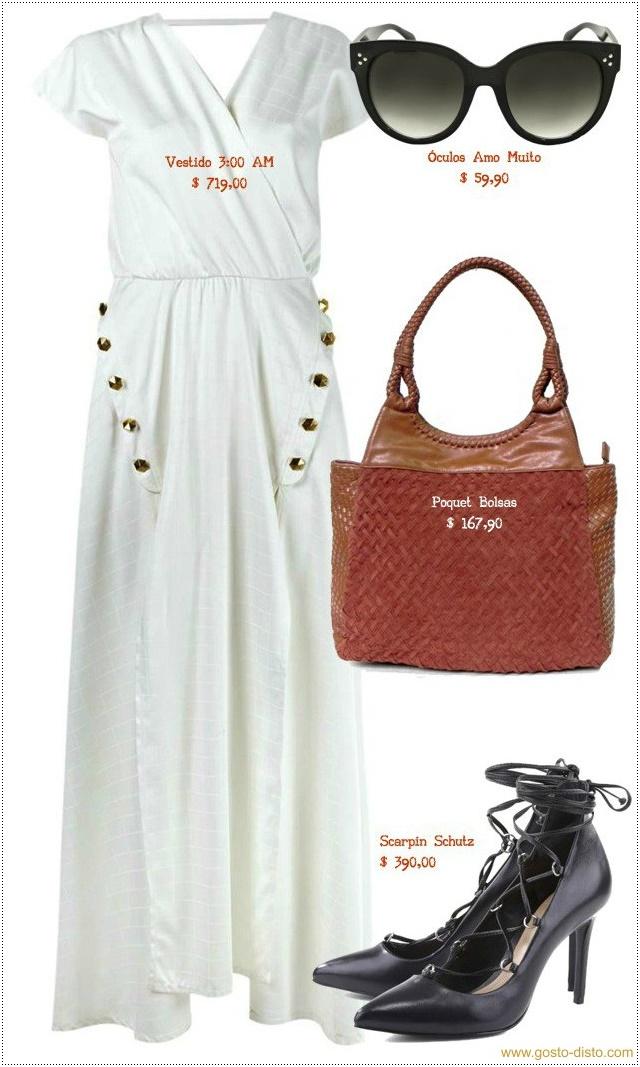 Vestido branco com scarpin preto