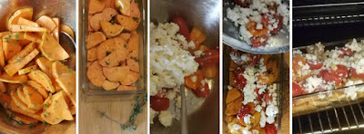 Zubereitung Süßkartoffel-Auflauf mit Tomaten und Feta