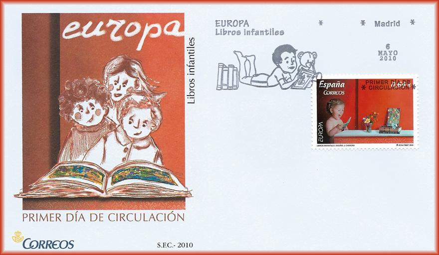 Sobre de la serie Europa, lema Libros infantiles, con el sello Lecturas infantiles de JCarrero