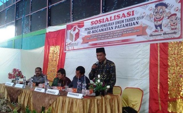 Sosialisasi Pengawasan Pemilu Partisipatif, Panwascam Patamuan Minta Peran Serta Masyarakat Awasi Pemilu