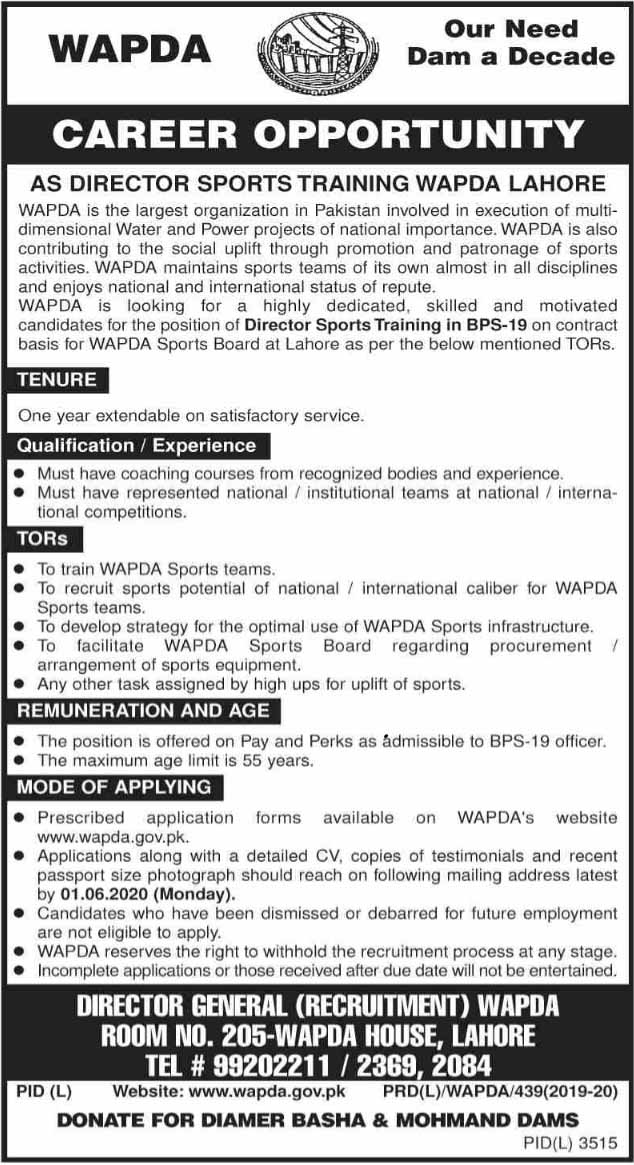Jobs in WAPDA for Director Sports Training May 2020