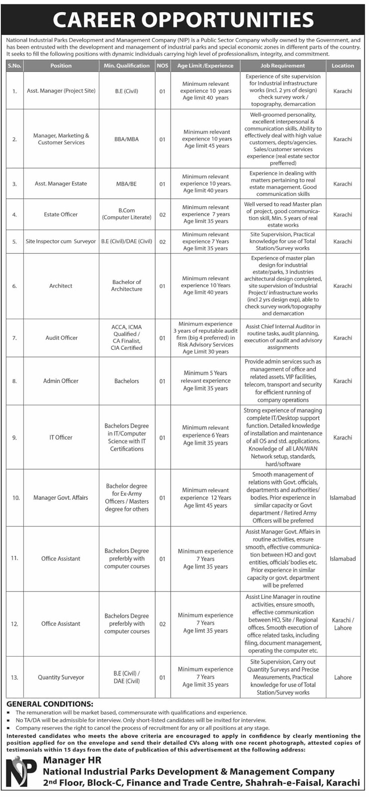 Advertisement for National industrial Parks Jobs