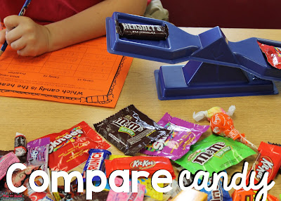 Have students compare candy to see which one ways more, but have them guess first so they can check their guesses!