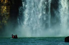 Bathing in spray at Chitrakut Falls