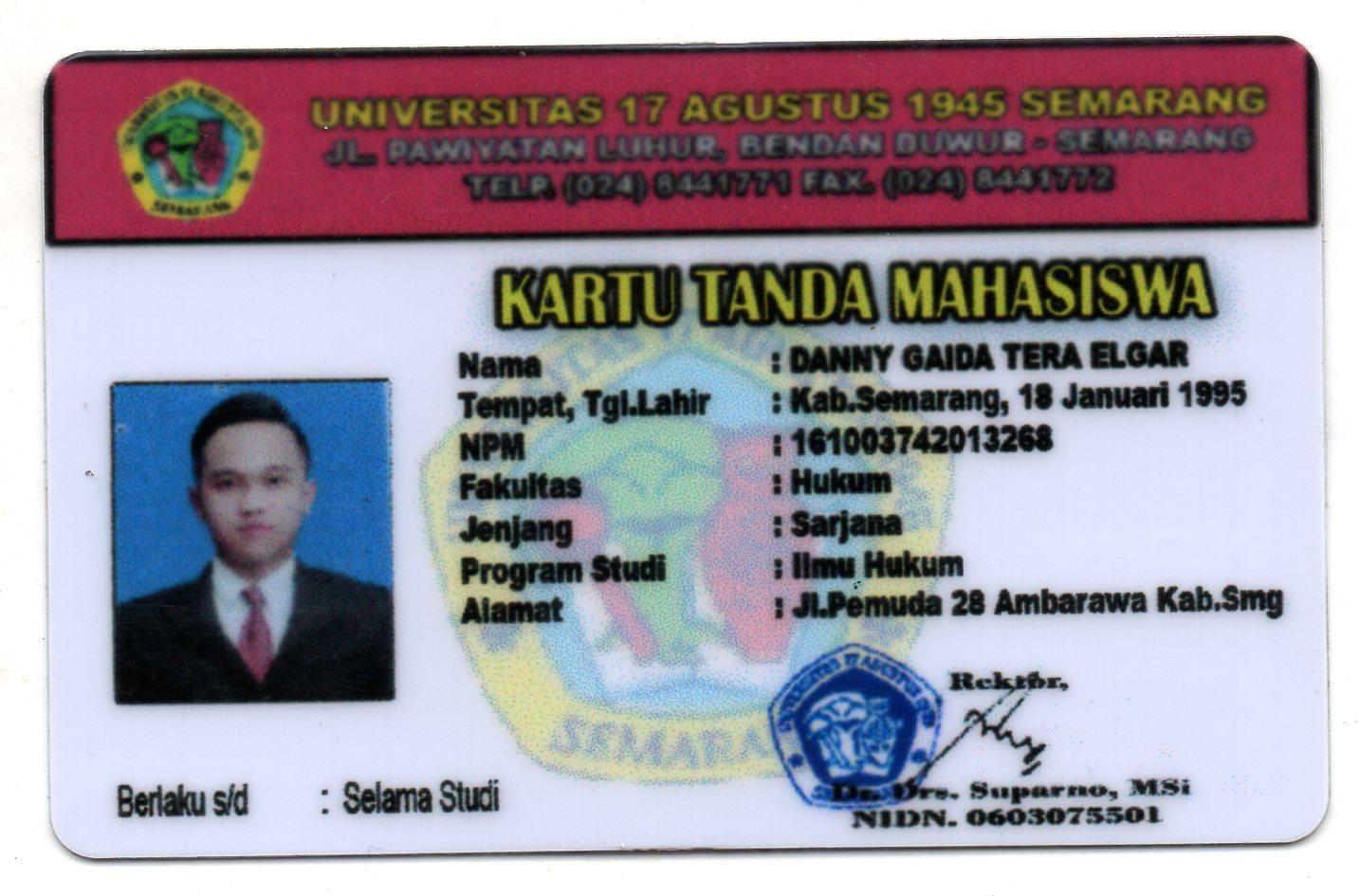 Kartu Tanda Mahasiswa (KTM) Fakultas Hukum Universitas 17 Agustus 1945 (UNTAG) Semarang
