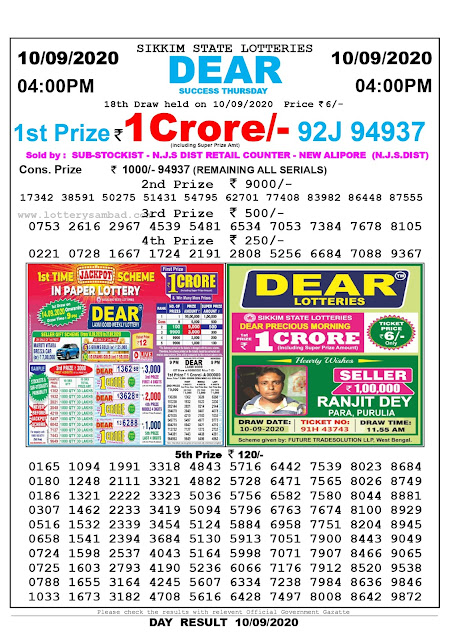 Sikkim State Lottery Sambad 10-09-2020 Today Result 4 PM