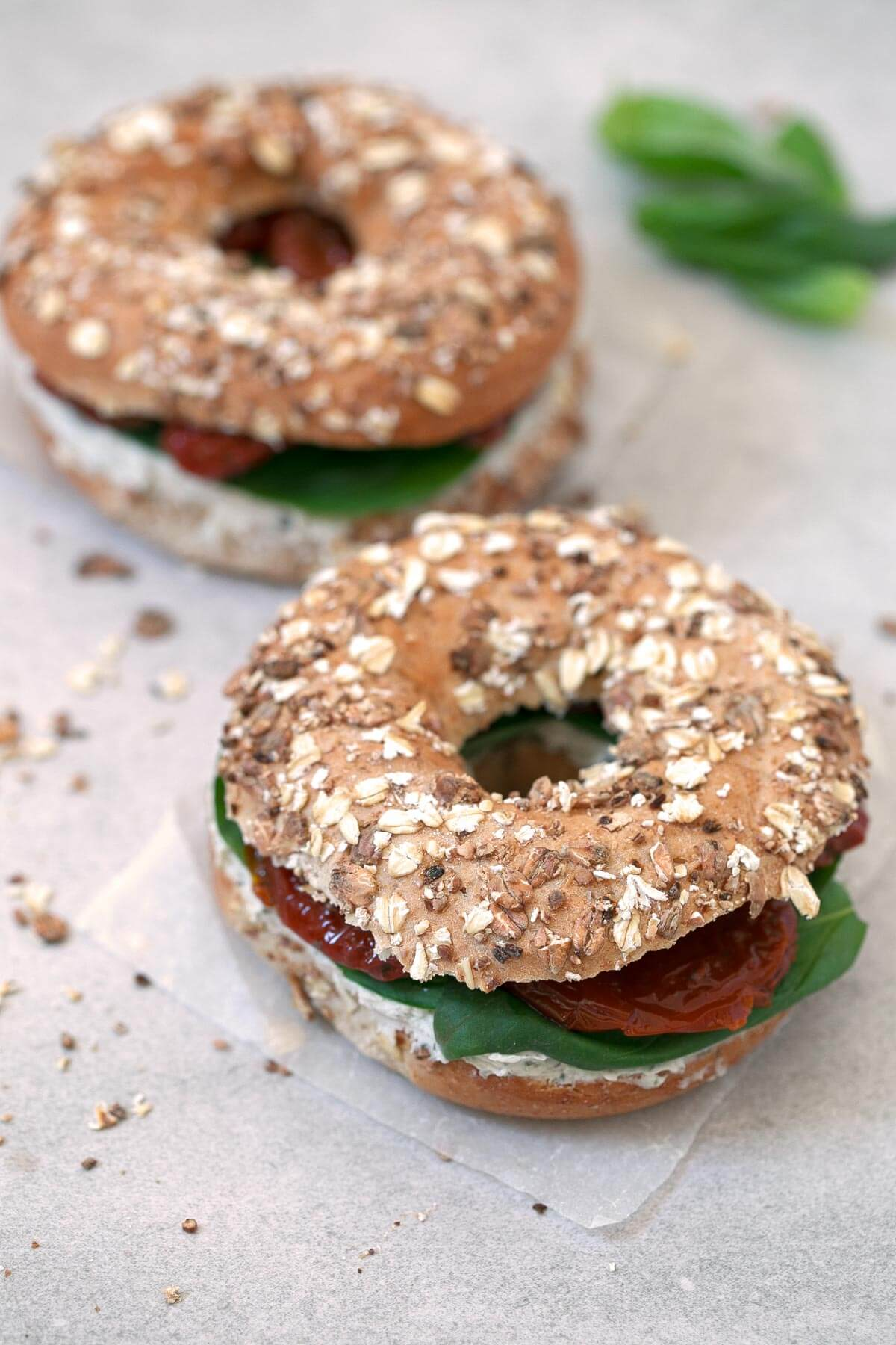 Vegan Bagels.- I love having these vegan bagels for breakfast when I want to pay homage to myself, although they can also be eaten as a snack or for a quick lunch or dinner.