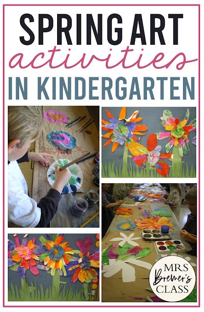 SPRING FLOWER ART activity for Kindergarten and First Grade