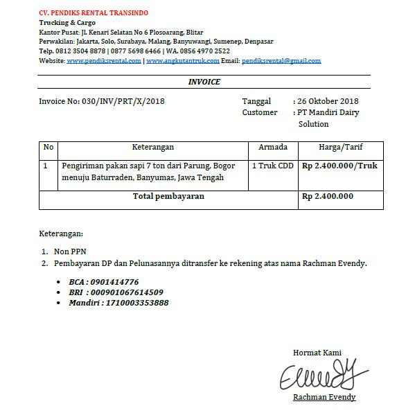 Contoh Invoice Jasa Rental Mobil Angkutan Travel Dan