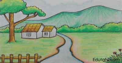 Cara Menggambar Pemandangan Rumah Di Pinggir Sungai Pemula