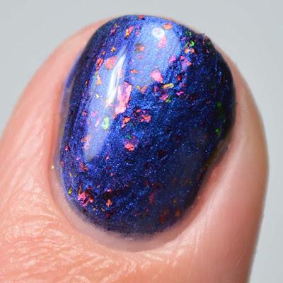 blue nail polish swatch close up