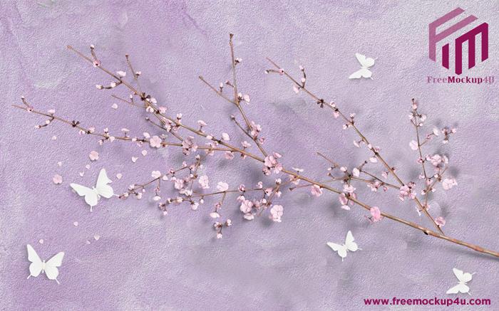 Modern Beautiful Pink Purple 3D Flower Branch Butterfly Background Wall