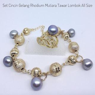 Set Perhiasan Mutiara Lombok Lapis Rhodium