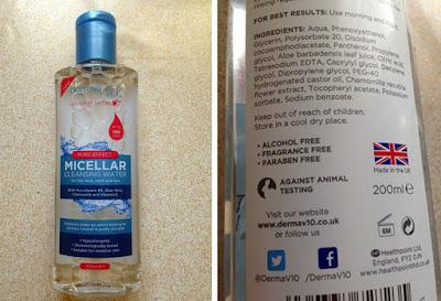 Derma V10 Micellar Cleansing Water.
