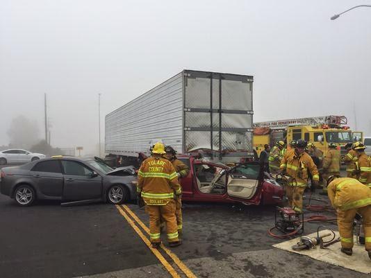 tulare county pileup highway 198 99 semi truck car accident visalia