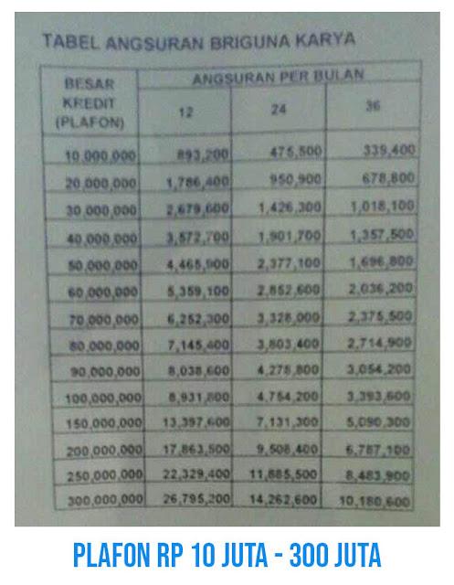 tabel pinjaman pns bank bri 2021