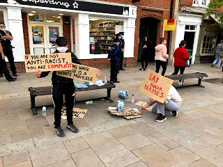 Black Lives Matter placards during a protest in Henley on Thames