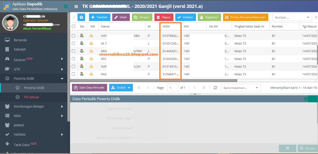 Update! Cek Aplikasi Dapodik Versi 2021 NISN PD Sudah ...