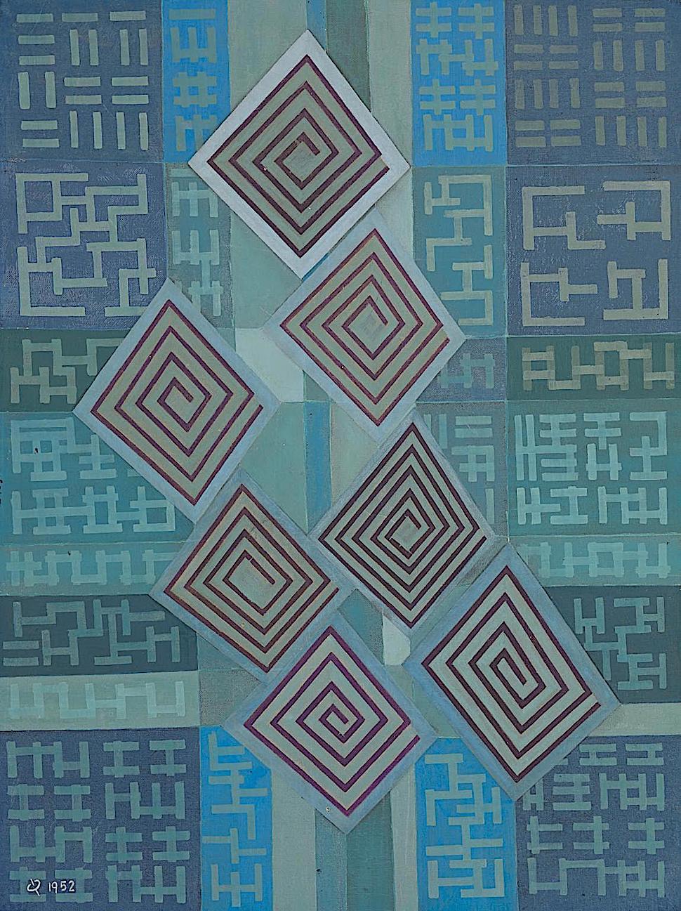 Oskar Fischinger 1952, blue Japan theater art
