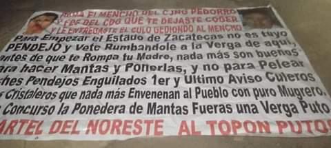 En Narcomantas en Zacatecas el Cartel del Noreste llama pndjo al Mencho líder del CJNG