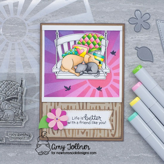 Life is better with a friend like you by Amy T. features Porch Swing,  Sunscape, Hardwood, Frames & Flags, Slimline Frames & Porthole, Serene Silhouettes by Newton's Nook Designs; #newtonsnook, #inkypaws, #friendship