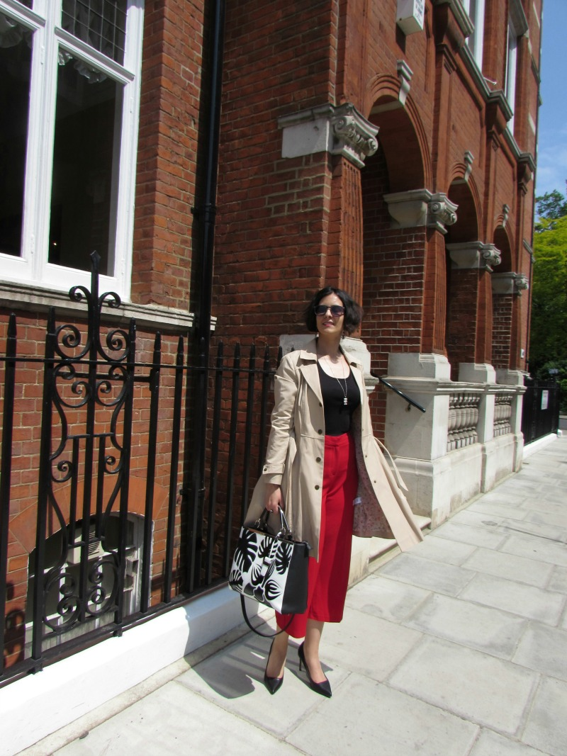trench coat and culottes