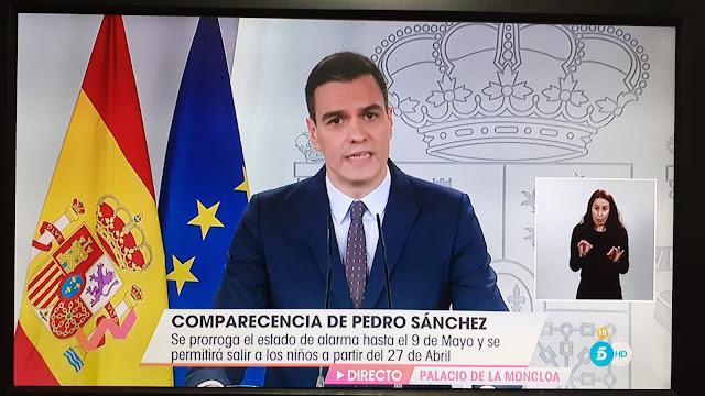 Presidente de España solicita  al Congreso ampliar cuarentena hast el 9 de mayo