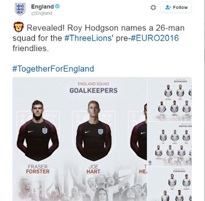 Roy Hodgson announces 26 man provisional england squad for Euro 2016 with Rashford in the team and defoe missing out.